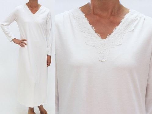 100% Cotton Jersey Nightgown - Adele - White - S, M, L, XL