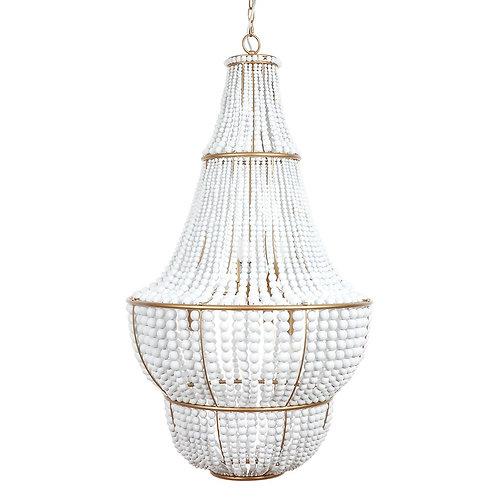 Sierra Beaded Pendant - Antique Gold/White -65x105cm high RR $2999