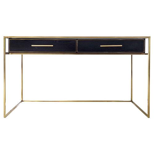 Vogue 2-Drawer Desk - Black Ash/Brushed Gold/Glass - RR $3100