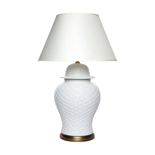 Leopolda Textured  Ceramic Table Lamp - Brass/White/Ivory - RR $1379