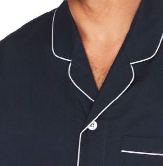 Mens Long Pyjama Set - Navy 'w White Piping - 100% Cotton - RR $159