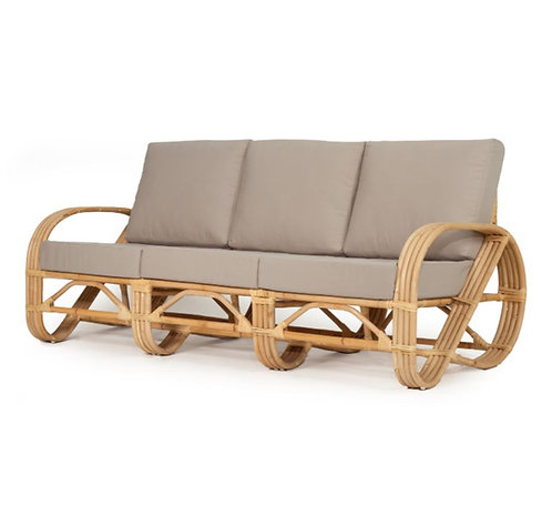 Abide Pretzel 3-Seat Sofa - Grey w' Solid Sustainable Rattan Frame was $2499