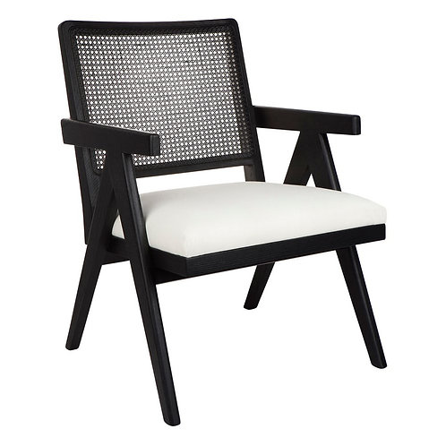 Oak & Rattan Upholstered Occasional Chair - Black/White Linen - RR $995