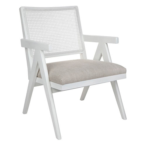 Rattan Upholstered Occasional Chair - White/Natural Linen - RR $995