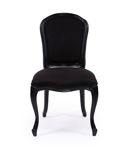 French Linen Upholstered Dining Chair - Black/Black Oak Frame was $359