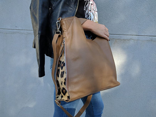 Casey Feline - Leopard / Tan Leather