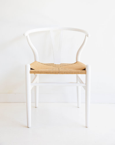 Wishbone Inspired Dining Chair - Solid Beech  - White/Natural Cord Seat