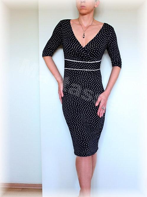 Šaty černo-bílý ,drobný puntík vz.617