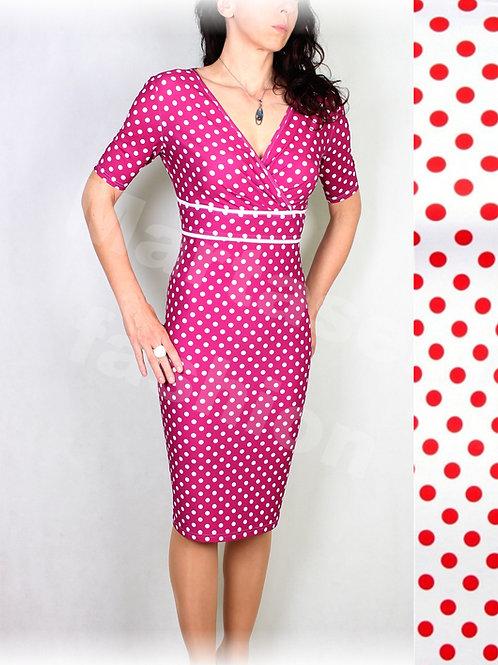 Šaty bílo-červený puntík vz.537