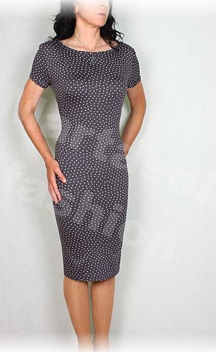Šaty šedo-bílý puntík vz.605