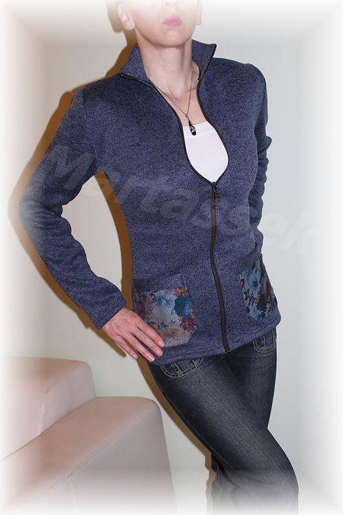 Kabátek s riflovými kapsami-svetrovina(více barev)