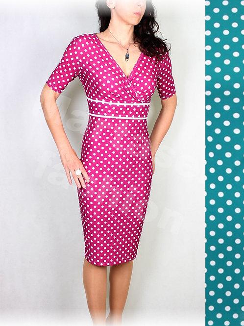 Šaty smaragdovo-bílý puntík vz.533