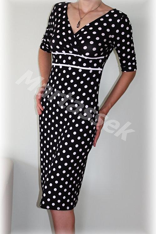 Šaty černo-bílý puntík vz.420