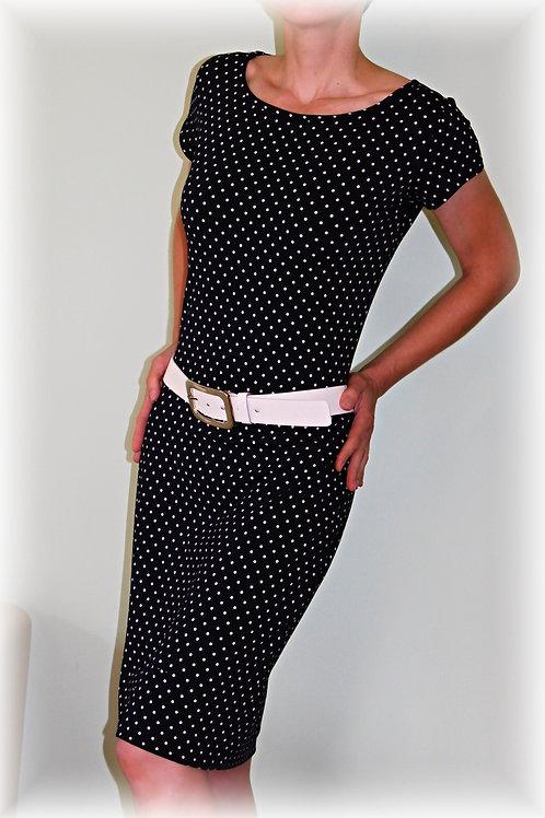 Šaty tmavě modrý puntík vz.503 i 3/4 rukáv