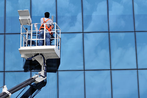Cherry Picker being used by window cleaner