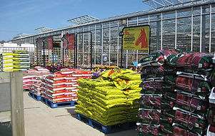 Bags of compost outside Woodend Nurseries