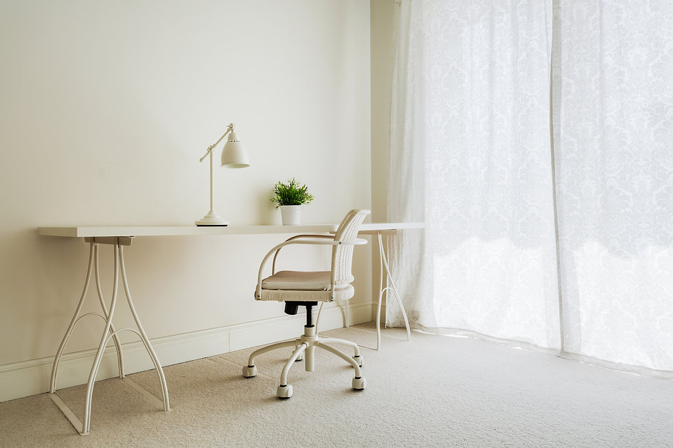 Neutral desk space with carpet and long curtains.jpg