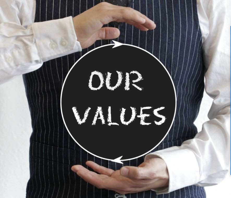 Man with suit with our values
