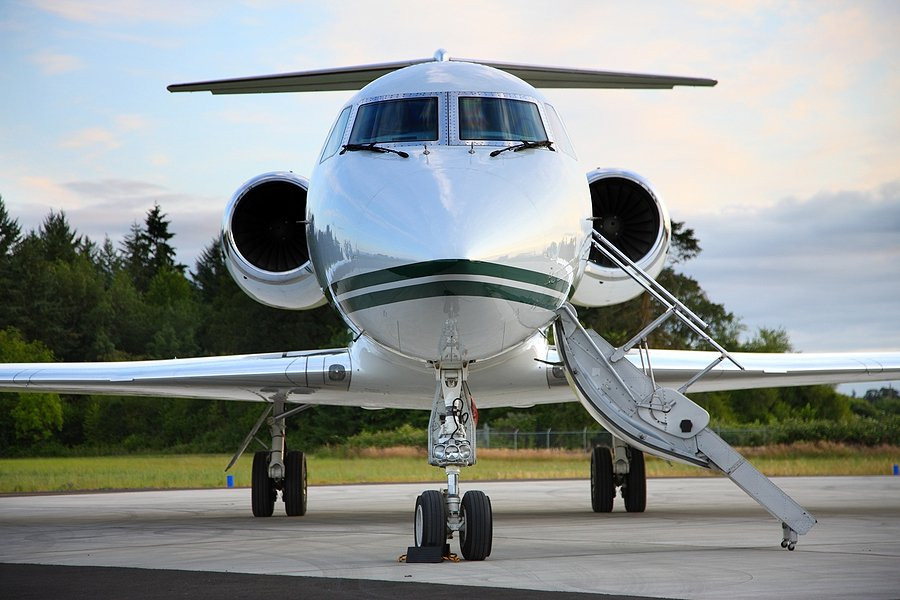 Private jet on the ground