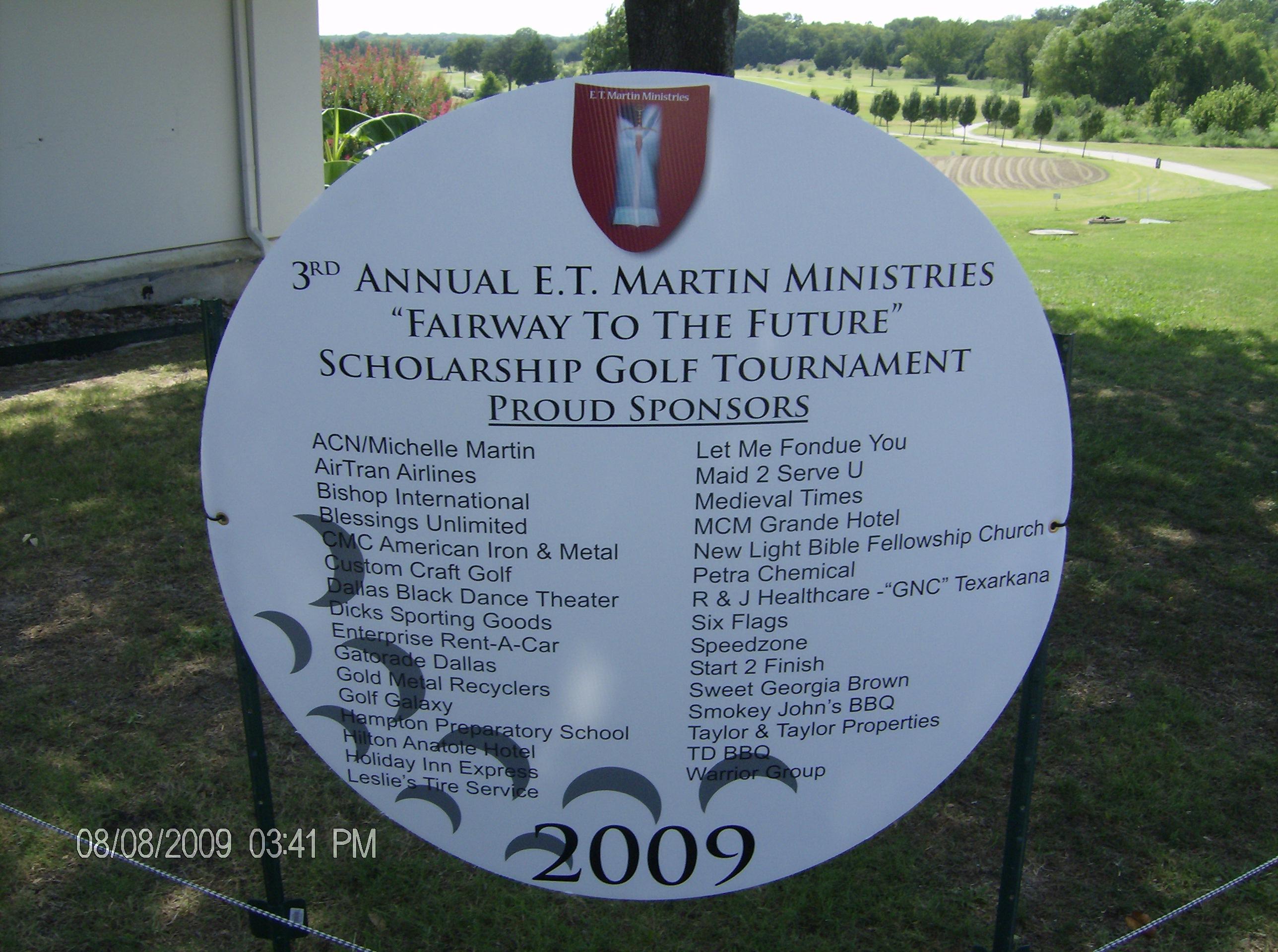 Golf Tournament Sponsors Board