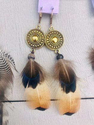 Boucles d'oreilles aztèques beige/bleu