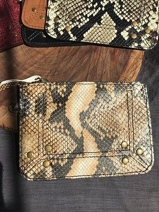 Porte-monnaie 1 serpent beige/noir