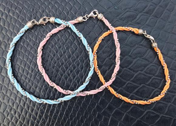 Bracelet corde/argent orange