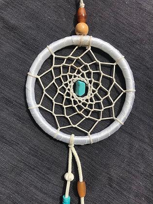 Attrape-rêve blanc/turquoise