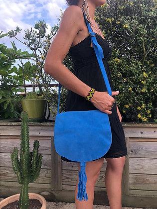 Sac pompon bleu vif