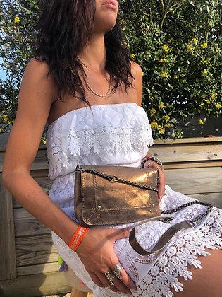 Bracelet soie orange/argenté