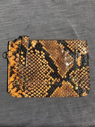 Porte-monnaie 1 orange/marron serpent