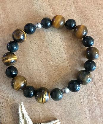 Bracelet oeil de tigre/obsidienne