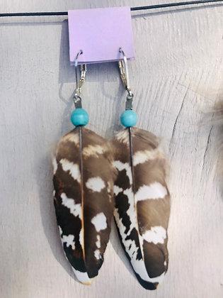 Boucles d'oreilles courtes faisan/turquoise