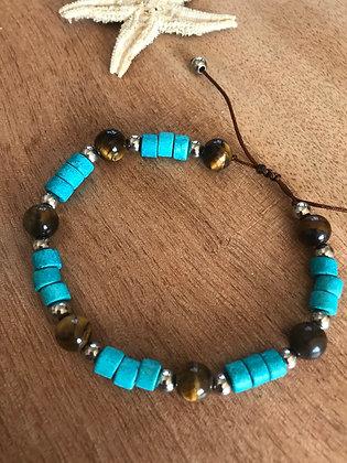 Bracelet oeil de tigre /turquoise