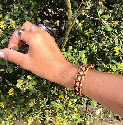 Bracelet soie doré/marron