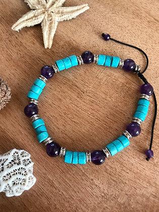 Bracelet améthyste /turquoise