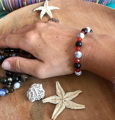 Bracelet howlite/cornaline/Agathe mate