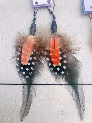 Boucles d'oreilles vert/rouge/noir longues