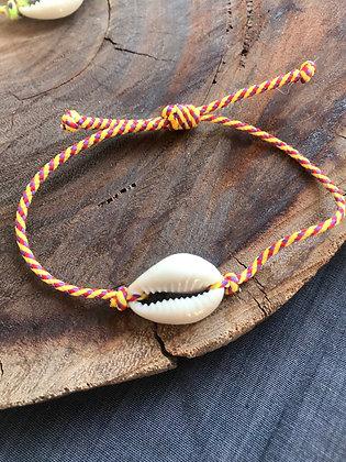Bracelet caurie corde violette jaune
