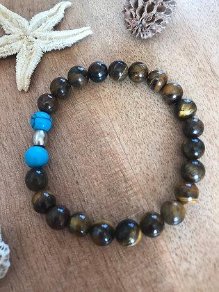 Bracelet oeil de tigre , pointe de turquoise