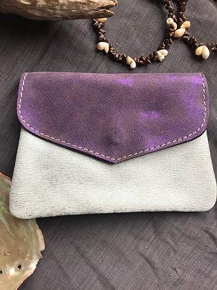 Porte-monnaie 2 violet foncé /argenté clair