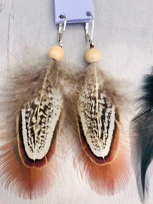 Boucles d'oreilles faisan clair/marron