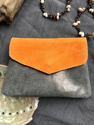 Porte-monnaie 2 orange /gris brillant