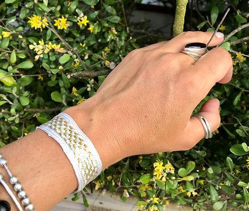 Bracelet soie blanc/doré