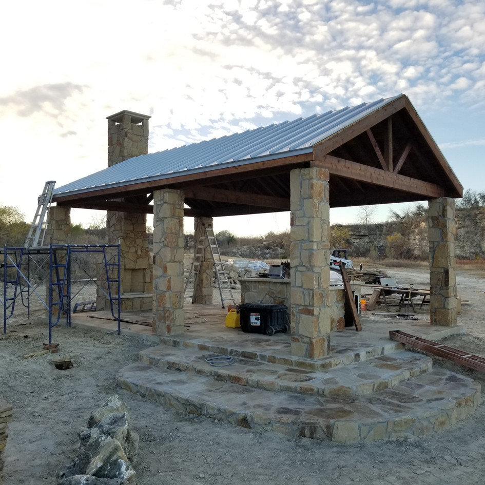 Outdoor Pavilion, Grill, Custom Outhouse and Custom Tower
