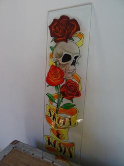 Skull & Roses sur verre 1