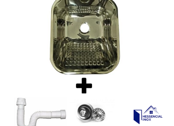 tanque aço inox medidas 34x40x18cm F3,1/2 P/ lavanderia C/Válvula e sifao