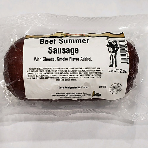Beef Summer Sausage With Cheese-Keep Refrigerated- (12 Oz.)