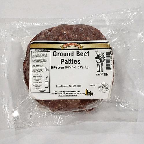 Ground Beef Patties 90-10; 3 per lb.
