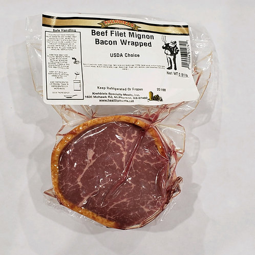 Beef Filet Mignon Bacon Wrapped (7-8 Oz.)
